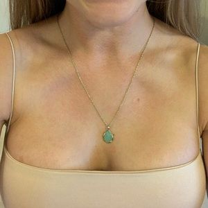 Seafoam green gold pendant Kendra Scott necklace